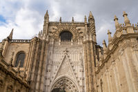 detail view of the landmark historic cathedral in Seville