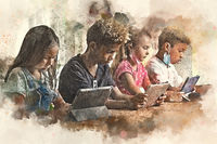 Digital watercolor image four diverse kids pulling down facemasks sit at table use gadgets ignoring each other prefer internet games. Alpha generation and modern technology overuse, phubbing concept