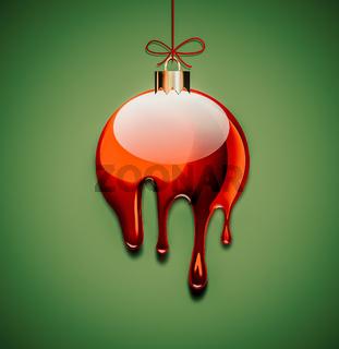 Liquid red christmas ball