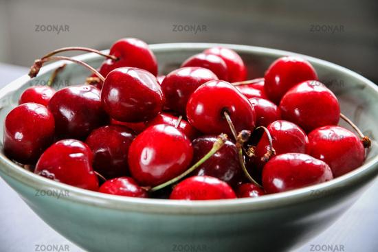 Fresh cherries in a bowl