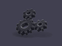 Three 3D gears with shadow on gray background.