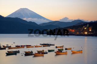 The view of Mount Fuji summit at the sunset over the Lake Ashi. Kanagawa Prefecture. Honshu. Japan