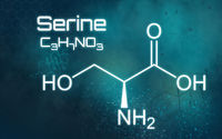 Chemical formula of Serine on a futuristic background