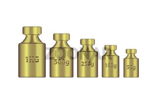 Kg weight mass golden metal realistic vector