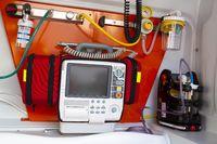 Defibrillator inside of an ambulance