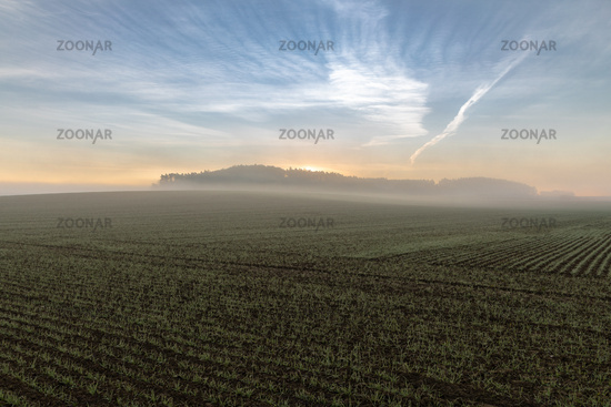 Foggy sunrise over a field in Bavaria