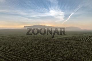Nebliger Sonnenaufgang ueber einem Feld in Bayern
