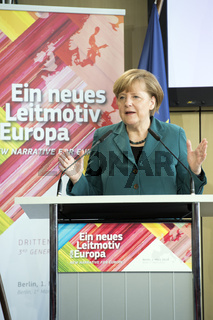 Merkel gives a speech in the conference 'New Narrative for Europe'