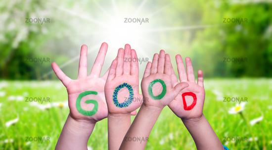 Children Hands Building Word Good, Grass Meadow