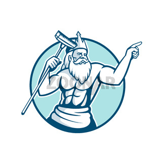 Neptune Holding Pool Scrub Mascot