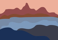 Abstract landscape modern flat style. Nature, mountains, location terrain. Vector illustration