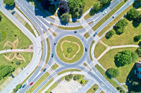 Aerial view of traffic roundabout intersection