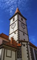 Baroque church tower in Varazdin, Croatia