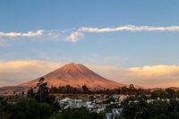 Sunset view of El Misti in Arequipa, Peru