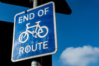 End of the Cycle Route Sign, Botley road, Oxford City England