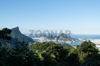 Aerial view over the city of Rio de Janeiro from the Vista Chinesa lookout in the Tijuca Forest.