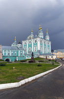 Orthodox cathedral against a background of dark thunderclouds.