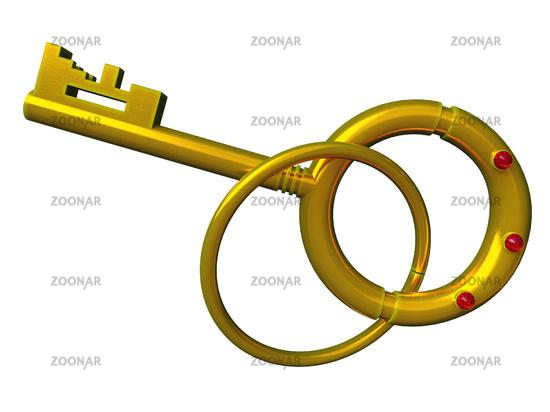 Gold key isolated