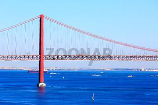 Lisbon, Portugal River Tagus and bridge