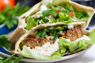 Falafel, vegetarian and vegan food from the middle east