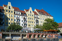 The Nikolai Quarter in Berlin, popular by many tourists, seen from the River Spree