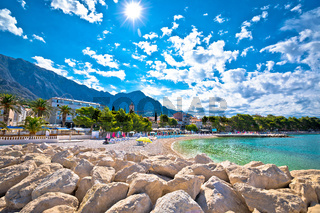 Town of Baska Voda beach and waterfront view,