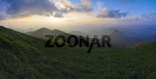 Picturesque view of sunset in Mala Fatra mountains in Slovakia