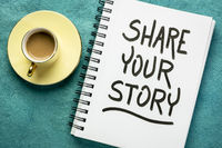share your story  handwriting in a sketchbook