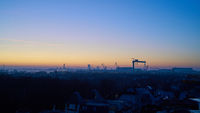 View over the city of Warnemuende to the port in Rostock in Germany at sunrise