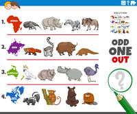 odd one out picture game with wild animal species