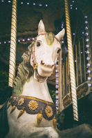 Carousel white horse with vintage look