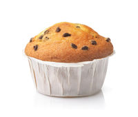 Front view of chocolate chip muffin