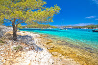 Turquoise beach on Pakleni otoci islands tourist destination