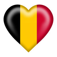 Belgium flag heart button isolated on white with clipping path 3d illustration