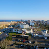 Panorama of coast and lighthouse of Warnemuende town on German Baltic Sea coast