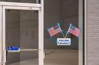 Entrance to a polling place for primary state elections in old Mall