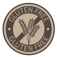 round gold colored gluten free label with wheat ears