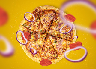 Italian traditional pizza concept on color background, levitated with steam and particles. Ideal for designers with copy space