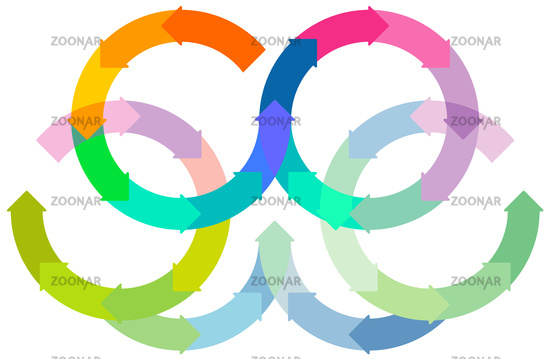 Set of colored circle arrows rotating on white background. Infographic
