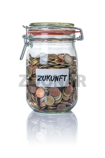 Isolated jar filled with coins labeled Future - Zukunft German