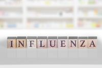 Wooden block with the word Influenza on a white background.