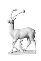 Classic white marble statue of a deer
