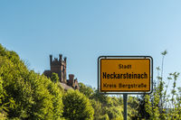 Town Sign of Neckarsteinach With Castle in Background, Hesse, Germany