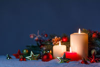 Christmas candles with decoration