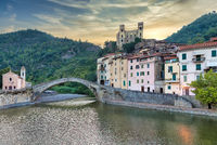 Dolceacqua ancient castle and stone bridge