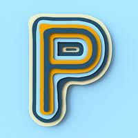 Colorful paper layers font Letter P 3D