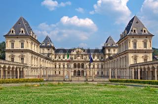 Facade of Valentino Castle in Turin, Italy.
