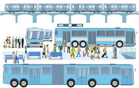 Bus stop with elevated train Illustration