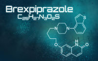 Chemical formula of Brexpiprazole on a futuristic background
