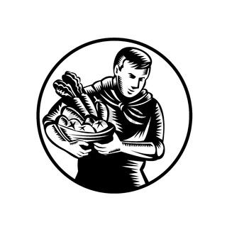 Organic Farmer With Vegetable Farm Produce Retro Woodcut Black and White
